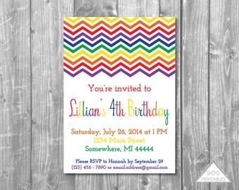 Rainbow Party Invitation, Rainbow Birthday, Chevron Rainbow Invitation, Rainbow Chevron Invite, Printable Invitation, Birthday Invitation
