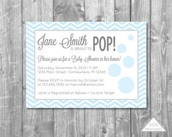 She's Ready to POP Invitation,  Bubble Baby Shower Invitation,  Printable PDF, Digital Invitation