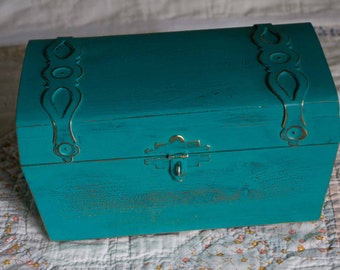 Vintage Shabby Chic Turquoise Treasure Chest, Small Cedar Chest, Jewelry Box