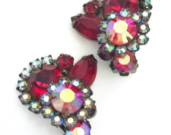 Ruby Red Rhinestone Earrings, Ruby Red Marquis and Round Rhinestones, Red Aurora Borealis, Japanned Metal, Clip-On Earrings