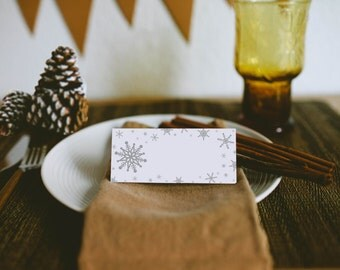 Snowflake Place Cards - Holiday Table Decor - Modern Place Cards - Christmas Place Cards - Set of 8 pieces