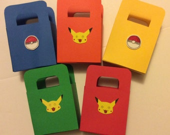 """Party Bag """"Pokemon"""" lot of 15 (3 of each color red, blue, green, yellow, orange) handmade, new..."""
