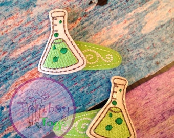 science flask hair clips