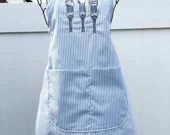 Kitchen Apron - Utensils Embroidered Apron - Full Baking Apron