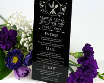 Engraved Acrylic DL Wedding Menus with Stand