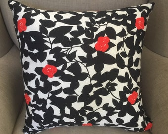 White, Black with Red Birds Cushion Cover.