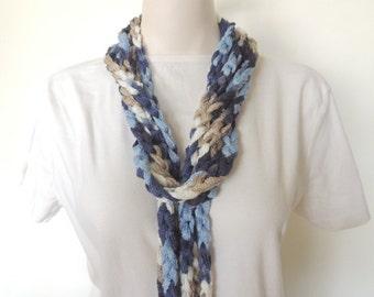 Blue Scarf, Crochet Jewelry, Scarf Necklace, Womens Jewelry, Handmade Jewelry