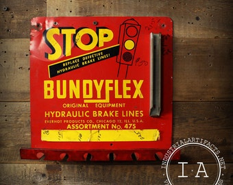Vintage Bundyflex Hydraulic Brake Lines Store Display Advertising Sign