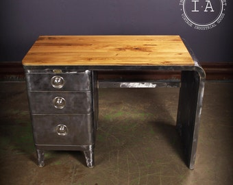 Mid Century Modern White Oak Wooden Top Steel Brushed Norman Bel Geddes Desk