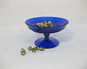 Pedestal Glass Candy Dish, Cobalt Blue Glass Candy Dish,