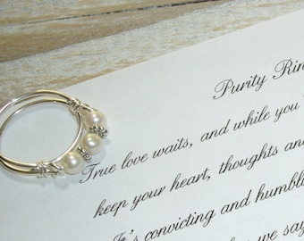 Purity Ring Pearl Band Sterling Silver, Inspirational Card