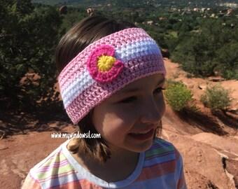 Crochet Spring Colorado Flag Headband Ear Warmer- Baby, Toddler, Child, Teen, Adult Sizes, Colorado Earwarmer, Skiing, Ski, Snowboard
