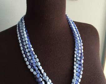 Vintage multi-strand plastic necklace 1960s