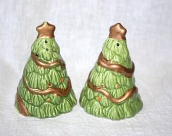 Vintage Christmas Tree Salt and Pepper Shakers