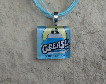 Broadway Musical Grease School Edition Glass Pendant and Ribbon Necklace