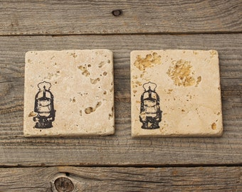 Oil Lantern Stone Coaster set, Backsplash tile, Rustic Decor,  Travertine Tile coaster, Tumbled stone tile, drink coaster