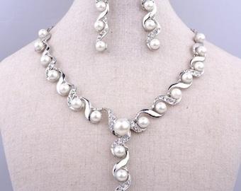 Silver Bridal Necklace, Wedding Necklace Set, Bridal Jewelry, Wedding Jewelry, Bridal Pearl Necklace Set, Wedding Pearl Necklace Set N-284