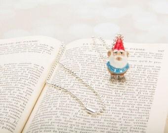 Garden Gnome Necklace -  Pendant Necklace - Gnome Necklace - Gnome -Jewelry - Garden Jewellery - Miniature Gnome Necklace Pendant Frenchtutu