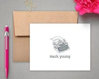 Personalized Stationery - Typewriter - Note Card Gift Set - Personalized Stationary
