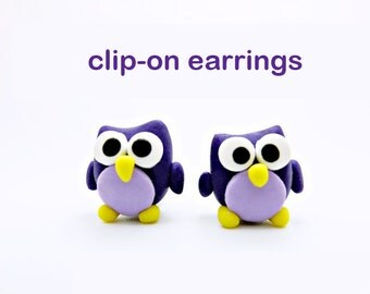 Owl clip-on earrings