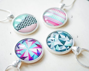 Geometric modern cabochon necklace