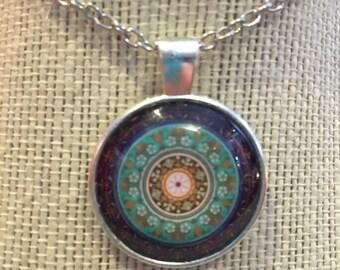 "20"" Silver Kaliediescope Teal&Purple Glass Pendant Necklace"