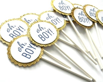 12 Gold Oh Boy Cupcake Toppers, Gold Theme, Boy Toppers, Boy Baby Shower, Gender Reveal, Gold Toppers, Glitter Gold, It's a Boy