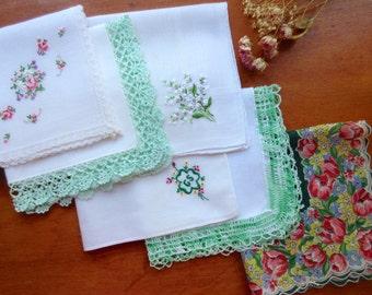Wedding   Handkerchiefs , Vintage Hankies   ,  Hanky ,  Batiste  Embroidery  Green  Handkerchiefs - set of 6.