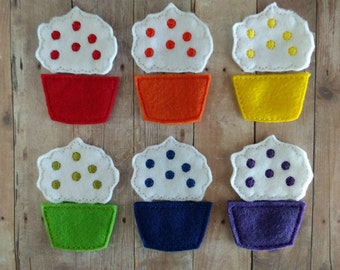 Cupcake Color Matching Game, Embroidered Acrylic Felt, Sprinkles With Matching Cupcake Bottoms, Educational Preschool Game, USA Made