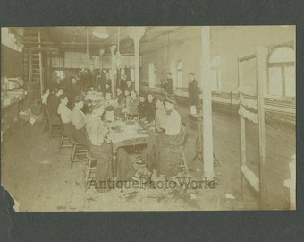 Workers women at thread spinning factory antique photo