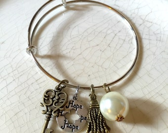 Adjustable wire charm bracelet shabby chic