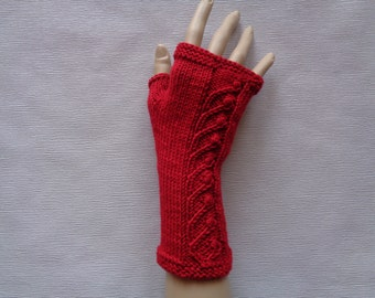Handknitted red color women fingerless gloves / wrist warmers with ornaments, Ornamental gloves,Red gloves, Christmas gift