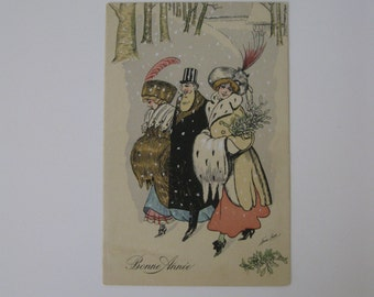 Xavier Sager - Artist Signed Post Card - Bonne Annee or Happy New Year - KF, Paris Series 4285 - Excellent Condition - Used - 1911