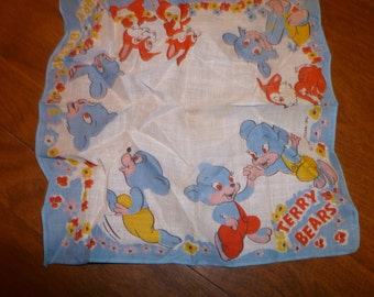 Child's Vintage Hankie with Terry Bears