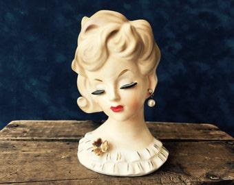 NAPCO Lady Head Vase  Planter  Vintage Pottery Lady Head    Retro Original (1958) Glamour Blonde Head Vase Lady Headvase C 5938 with Pearl