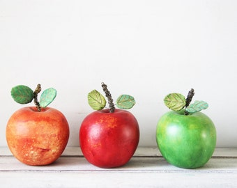 Colourful ceramic apples, set of three ceramic apples, one red, one green one orange, earthenware, life size apples with metal stems