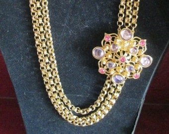 ON SALE Jose Barrera Marbella Necklace - Gold Tone with Pink and Lavendar Stones - S1836