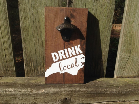 Items Similar To Drink Local Nc State Outline Nc Beer Wall Mounted
