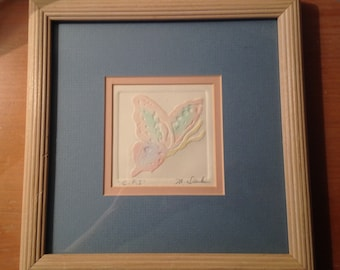 Mary Dinkins -Butterfly l and Butterfly ll- matching Signed and Framed Intaglio Watercolors