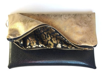 Gold and Black Vinyl Fold Over Clutch