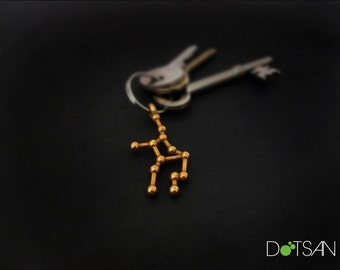 Virgo Constellation 3D Printed Gold Steel Keychain Keyring