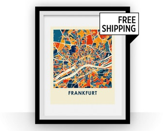 Frankfurt Map Print - Full Color Map Poster