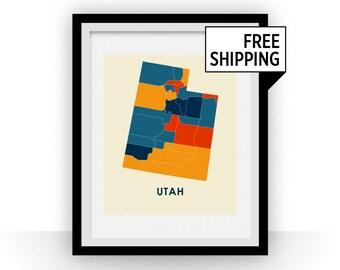 Utah Map Print - Full Color Map Poster