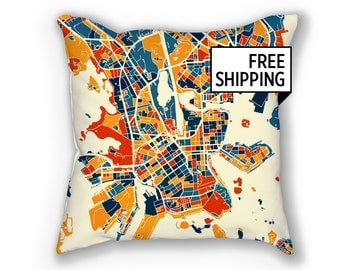 Helsinki Map Pillow - Finland Map Pillow 18x18