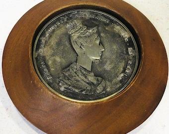Maria Anna Augusta Ferdinandi Coin Reproduction Wooden Coaster Set Vintage Home Decor
