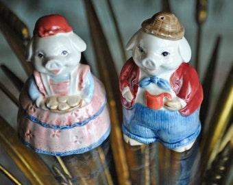 Vintage OTAGIRI Pig Salt and Pepper Shakers made in Japan