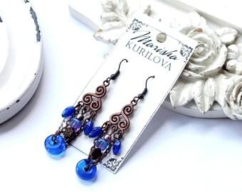 "Ultramarine earrings ""Marina"" / trendy style"