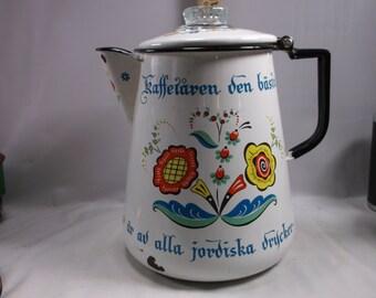 Coffee Pot Vintage Mid Century Enamel Swedish Writing Hand Painted 1970 s Blue Yellow Orange On White epsteam