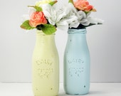 2- Hand Painted Small Milk Bottles Flower Vases- Cottage- Country Decor- Baby Shower- Nursery Decor
