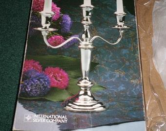 Vintage Silverplated 3 Lite Candelabrum - Silver Candlestick In Vintage - 1987 Silverplated 5 Position Candle Holder - Wedding Candelabra